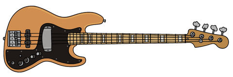 Bass guitar. Hand drawing of a electric bass guitar Royalty Free Stock Photos