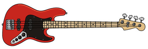 Bass guitar. Hand drawing of a red electric bass guitar Stock Image