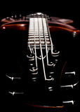 Bass guitar headstock view (low key, shallow depth of field) Royalty Free Stock Images