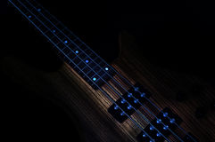 Heavy Rock Bass Guitar. Electric Bass wooden with dark background royalty free stock photography