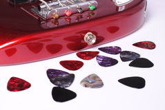 Bass guitar and picks Royalty Free Stock Photography