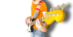 Bass Guitar Player. Over White Background (clipping path included Stock Image