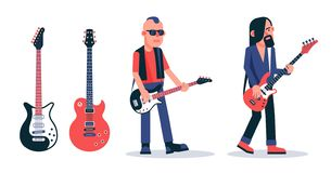 Bass guitar player in dark glasses in punk style stock illustration