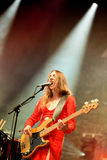 Bass guitar player Haim (band), performs with a red dress at Heineken Primavera Sound 2014 Festival Royalty Free Stock Image