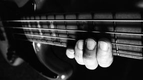 Bass guitar player. Royalty Free Stock Images