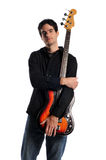 Bass guitar player posing Stock Photos