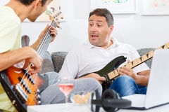 Bass and guitar player Stock Image