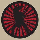 Bass guitar rock star. In the grunge circle stock illustration
