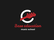Bass guitar school logo. Red bass guitar. Best for music school, music blog, music journal Stock Photos