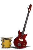 Bass Guitar and Snare Drum. Isolated over white with shadows Royalty Free Stock Photography