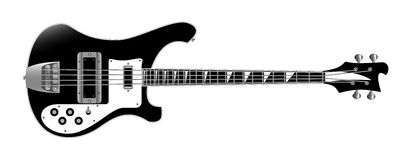 Bass guitar. On white background vector illustration