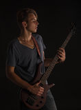 Bass guitarist. Royalty Free Stock Image