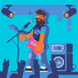 Bass Guitarist plays on the electric guitar. Rock Band Member Funny Character.Vector illustration Stock Image