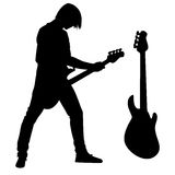 Bass guitarist silhouette Stock Photo