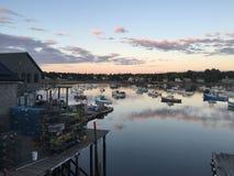 Bass Harbor an der Dämmerung lizenzfreie stockfotografie