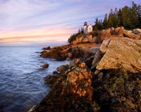 Bass Harbor Head Light. A Classic New England Lighthouse, The Bass Harbor Head Light In The First Light Of Dawn, Acadia National Park, Maine, USA stock photography