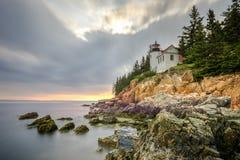 Bass Harbor Head Light Acadianationalpark, Maine Royaltyfri Fotografi