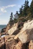 Bass Harbor Head Light en el área del Acadia de Maine Imagen de archivo