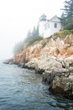 Bass Harbor Head Light on a foggy day, Maine Royalty Free Stock Photography