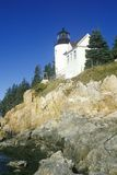Bass Harbor Head Light Lighthouse on Blue Hill Bay in Maine, ME Royalty Free Stock Photography