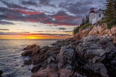 Bass Harbor Head Lighthouse royaltyfri fotografi
