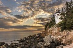 Bass Harbor Head Lighthouse bei Sonnenuntergang Lizenzfreies Stockbild