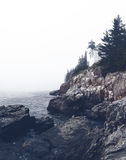 Bass Harbor Head Lighthouse on a foggy day, Maine Stock Images