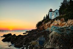 Bass Harbor Light Royaltyfri Fotografi