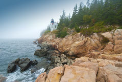 Bass harbor lighthouse. In fog off Bar Harbor, Maine, USA Royalty Free Stock Images