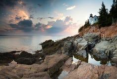 Bass Harbor Lighthouse au crépuscule Image libre de droits