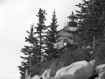 Bass Harbor Lighthouse. Acadia National Park, Maine. in black and white , monochromatic view royalty free stock photos