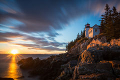 Bass Harbor Lighthouse bei Sonnenuntergang Lizenzfreie Stockfotografie