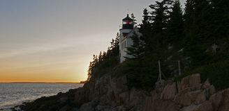 Bass Harbor Lighthouse. Famous seacoast Bass Harbor Lighthouse at twilight. Bass Harbor, Maine (USA). Scenic panorama royalty free stock images