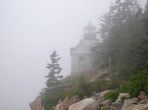 Bass Harbor Lighthouse in Fog royalty free stock photos
