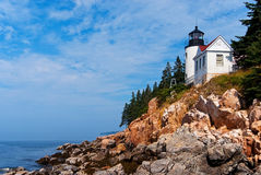 Bass Harbor Lighthouse i Maine Arkivfoton