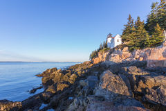 Bass Harbor lighthouse  in the morning sunlight. Bass Harbor lighthouse is located in northen Maine's Acadia National Park Royalty Free Stock Photo