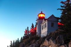 Bass Harbor Lighthouse på solnedgången Royaltyfri Bild