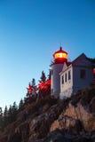Bass Harbor Lighthouse på solnedgången Arkivbilder