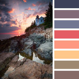 Bass Harbor Lighthouse palette Royalty Free Stock Images