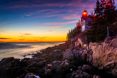 Bass Harbor Lighthouse at sunset, in Acadia National Park, Maine Stock Images