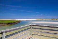Bass Hole Boardwalk, Yarmouth, Maine, EUA fotos de stock royalty free