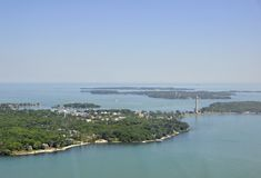 Bass Island, Ohio. Aerial view of the bass Islands on Lake Erie, Ohio USA; South bass island in the foreground royalty free stock image
