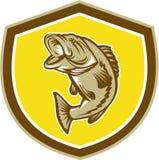 Bass Jumping Shield Retro mit großer Öffnung Lizenzfreie Stockfotos