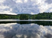 Bass Lake Blowing Rock North Carolina Storm Clouds Stock Afbeelding
