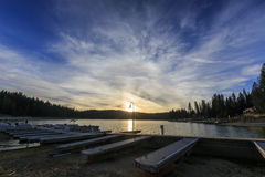 Bass lake. Dock of Bass lake, sunset stock image
