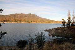 Bass Lake, Sierra National Forest, Madera County, California. Popular tourist spot and reservoir that supplied the first hydroelectric generating project in stock photography