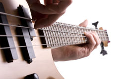 Bass player. Close up of bass guitar fretboard with musicians hand stock image