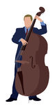 Bass player. Adult Male playing a double bass Royalty Free Stock Photos