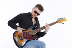 Bass player with attitude Stock Images