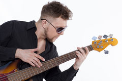 Bass player with attitude Royalty Free Stock Photo